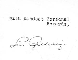 Lou Gehrig Signature
