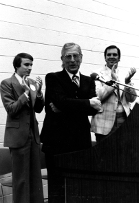 Left to Right: Mark Dyer, John Wooden, and Wayne Boltinghouse (Photo Credits: University Archives & Special Collections - UP 02212)