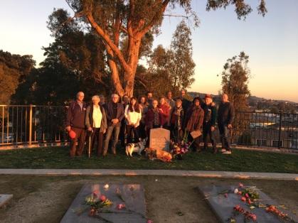 "Remaining survivors from Jonestown for the 38th anniversary in 2016. The tombstone reads, ""In memory of the victims of the Jonestown Massacre. November 18, 1978. Jonestown, Guyana. Guyana Emergency Relief Committee""."