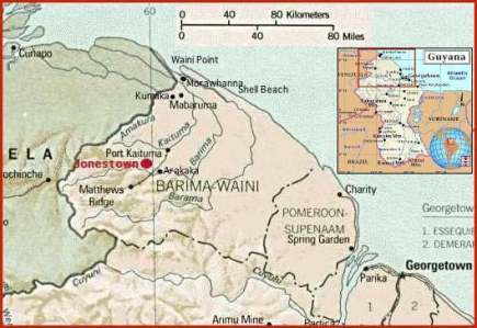 Map of Jonestown in Guyana