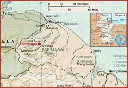 Map of Jonestown in Guyana