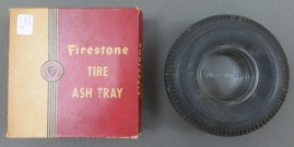 Left to right: Yellow and Red box for Firestone Tire Ashtray and the Firestone ashtray, n.d.