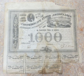 One thousand dollars. No. 28123 Eight per cent, July 1, 1868. The Confederate States of America Loan. Authorized act of Congress. C.S.A. February 20, 1863 On the 1st day of July 1868, the Confederate States of America will pay to the Bearer of the Bond, at the seat of government or at such place of deposit as may be appointed by the Secretary of the Treasury, the sum of ONE THOUSAND DOLLARS with interest there on from date, at the rate of eight per cent per annum payable sum annually on the surrender of the annexed Coupons. This contract is authorized by an act of Congress approved February 20, 1863 entitled [and set to] authorize the issue of BONDS for funding Treasury notes and is upon the [express] conditions that said Confederate States may from time to time extend the time of payment for any period not exceeding thirty years from this date at the rate of interest, upon the surrender of the Bond. In Witness whereat the Register of the Treasury in pursuance of said act of Congress hath here unto ser his hand and affixed the seal of the Treasury at Richmond, this 2nd day of March 1863.