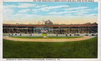 The first municipally owned league base ball park in the world. Interior of Bosse Athletic Field Stadium, Evansville, Indiana. n.d.