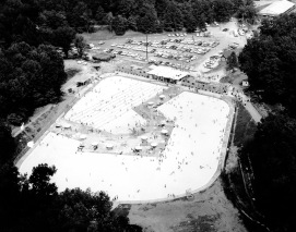 Aerial view of Burdette Park, circa 1980. (Photograph Credit: University Archives and Special Collections, RP 031-013).