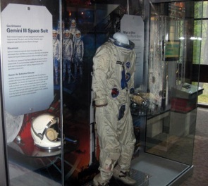 Display of NASA astronaut, Gus Grissom, of his space suit and helmet from Gemini 3 mission. n.d.
