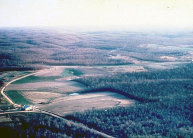 Aerial view of The Farm in Summertown, Tenn., c. 1975. (Source: Robert Rosenthal Collection, CS 665-5619)