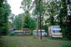 Abandoned vehicles, some of the original buses that came to the Farm from San Francisco, Calif., 1993. (Source: Don Janzen collection, CS 662, 070sc-0019)