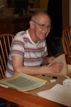 Don Janzen organizing materials from the Shiloh Family and Trust collection, 2017. Photograph Credit: Deanna Engler