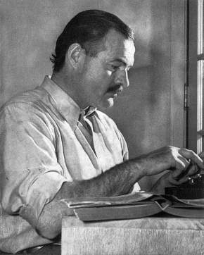 Ernest Hemingway working on For Whom the Bell Tolls at Sun Valley Lodge, Idaho, 1939. Source: Wikipedia