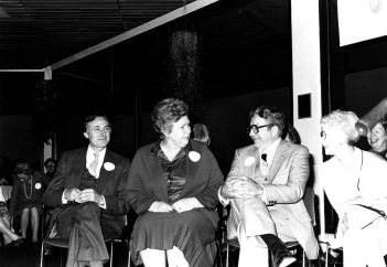 Left to Right: David L. Rice, Betty Rice, Rolland Eckels, and Edith Bates, November 1980. Source: University Archives and Special Collections, UP 5364