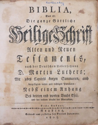 Front paper of the German Bible belonging to Gertrude Rapp, from the Talley-Nix Family collection (MSS 173), 1805. Source: University Archives and Special Collection.