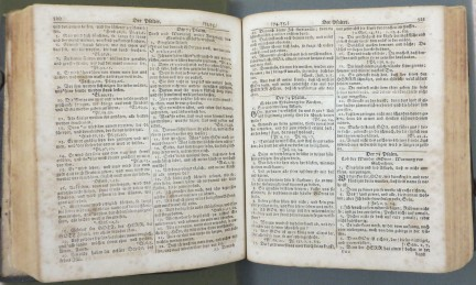 Inside of the German Bible from the Talley-Nix Family collection (MSS 173), 1805. Source: University Archives and Special Collection.