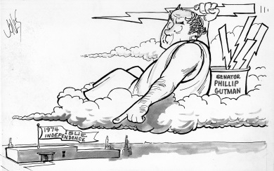 "ISUE Independence Cartoon: Left to Right: Wright Administration Building with banner, ""1974 ISUE Independence"" as a man who resembles Zeus holding a thunderbolt labeled, ""Senator Phillip Gutman""."