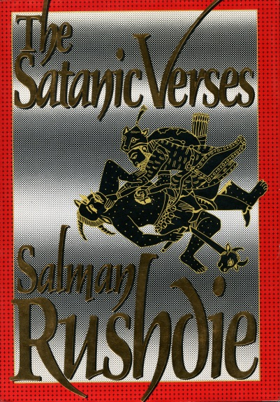 "Book cover of ""The Satanic Verses"" by Salman Rushdie, 1989."