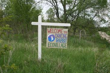 Sign at entrance to Dancing Rabbit in Scotland County, Mo., 2009. Source: University Archives and Special Collection (Donald E. Janzen collection, CS 662, 192dc-0002)