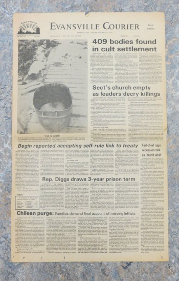 Evansville Courier newspaper headline over Jonestown, 1978. Source: CS 462.