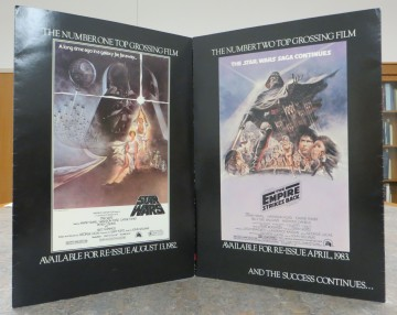 Outer inserts with movie posters from Star Wars Episode IV: A New Hope and Episode V: The Empire Strikes Back, 1982-1983. Source: Jeanne Suhrenreich collection (MSS 118-6)