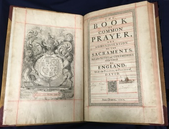 Book of Common Prayer, 1660. This item is located in the College of Liberal Arts in Lawrence Library.