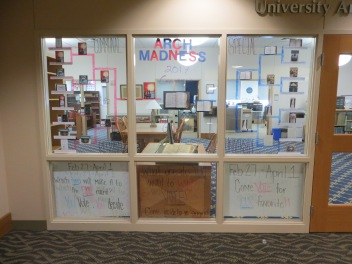 Arch Madness brackets outside of RL 3021, 2017. Credit: James Wethington.