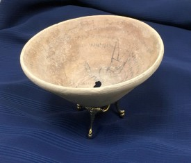 Incantation bowl, c. 6th to 8th Century. This item is located in the College of Liberal Arts in Lawrence Library.