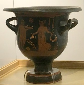 Greek Bell Krater, c. 360 BC. This item is located in the College of Liberal Arts in the Lawrence Library.