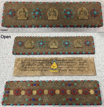 Tibetan Folio of Mudras of the Buddha, n.d. This item is located in the College of Liberal Arts in Lawrence Library.