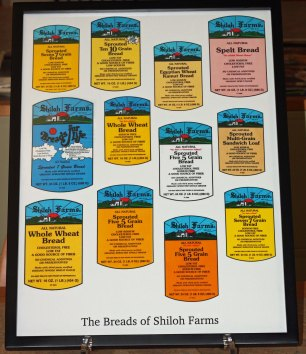 Shiloh Farms Bread Labels, created by Dr. Donald Janzen, n.d. This item is located in the Communal Studies Reading Room in RL 3024.