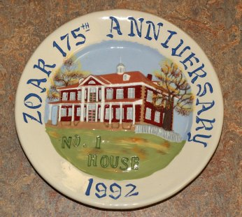 Commemorative 175th anniversary plate of the founding of Zoar, 1992. This item is located in the Communal Studies Reading Room in RL 3024.