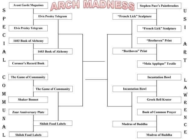 "Elite 8 updated brackets: from the Special Collections, the Elvis Presley telegram will face the 1603 Book of Alchemy. In Communal Studies, The Game of Community is competing against the Shiloh Food Labels. In the USI Art Collection, the ""French Lick"" sculpture is facing off against the ""Beethoven"" print. Finally, in the Lawrence Library region, the Incantation Bowl is facing off against the Mudras of Buddha."