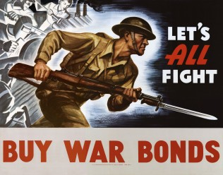 "World War II bond poster ""Let's All Fight; Buy War Bonds"", 1942. Source: William Sonntag collection (MSS 286-042)."