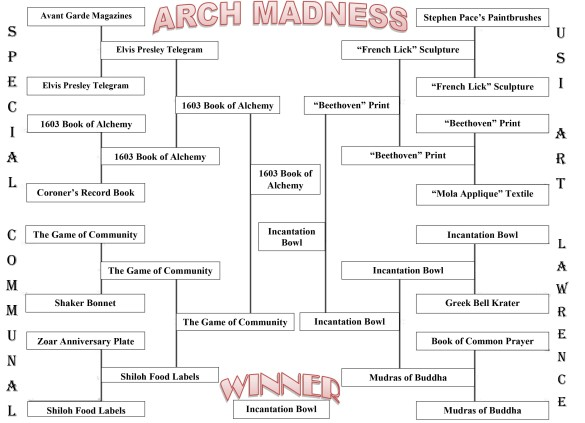 The winner of the 2018 Arch Madness competition is the Incantation Bowl from the Lawrence Library.