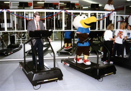 (Left to Right): Dr. H. Ray Hoops and Archibald Eagle at Recreation and Fitness Center, 1997. Source: University Archives and Special Collections, UP 02520.