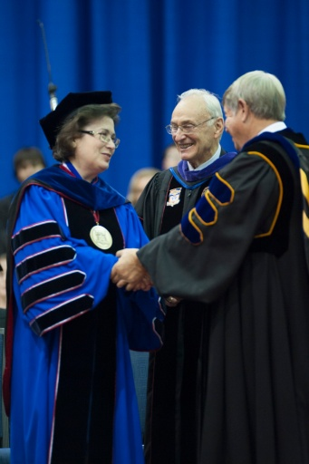 Inauguration ceremony of Dr. Linda Bennett (left) alongside Dr. David L. Rice (middle) and Dr. H. Ray Hoops (right), 2009. Source: Photography and Multimedia.