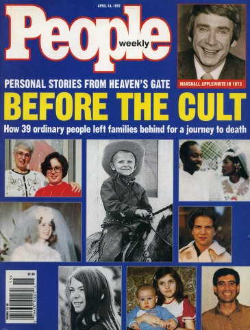 Front page of People Weekly: Personal stories from Heaven's Gate; Before the Cult; How 39 ordinary people left families behind for a journey to death, 1997. Source: CS 287-3, Heaven's Gate.