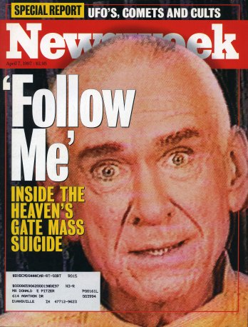 Front page of Newsweek Magazine: 'Follow Me', Inside the Heaven's Gate Mass Suicide, April 14, 1997. Source: CS 287-3, Heaven's Gate collection.