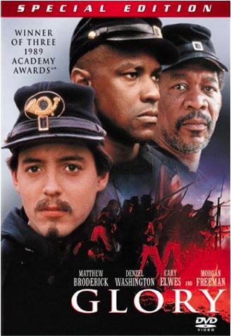"Movie cover of ""Glory"", winner of three 1989 Academy Awards, 1989."