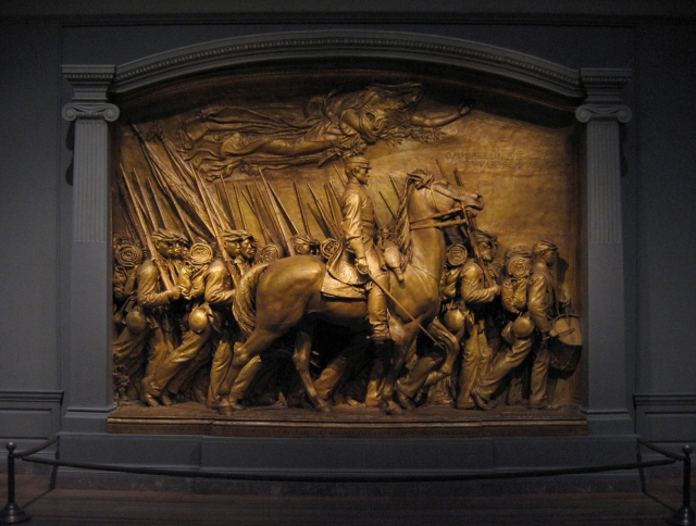 The Robert Gould Shaw Memorial, n.d. Source: https://upload.wikimedia.org/wikipedia/commons/5/5f/Robert_Gould_Shaw_Memorial_plaster_original_01.jpg
