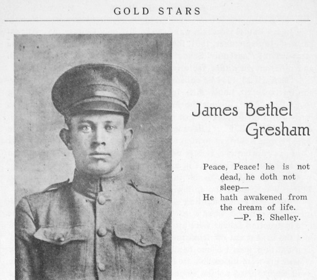 James Bethel Gresham, an Evansville, Indiana native, was one of the first three American soldiers, 1920. Source: Book, Sons of Men, 1920.
