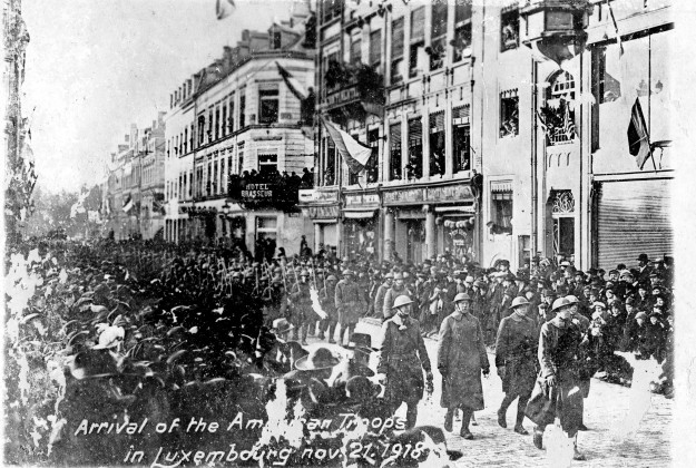 Liberation of Luxembourg by American troops, 1918. Source: Roy Kennedy collection, MSS 256-009.