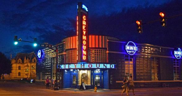 Entrance of Bru Burger restaurant, formerly the Greyhound Bus Station, n.d. Source: Indianalandmarks.org