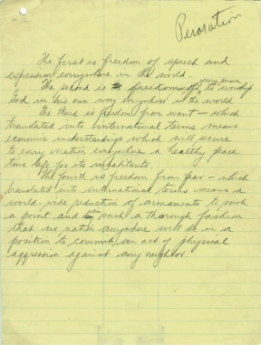 Draft of President Franklin D. Roosevelt's speech on freedom, 1941. Source: https://fdrlibrary.org/documents/356632/390886/ffdrafts.pdf/48fdda5f-b33f-4097-b040-6248fe56d69b
