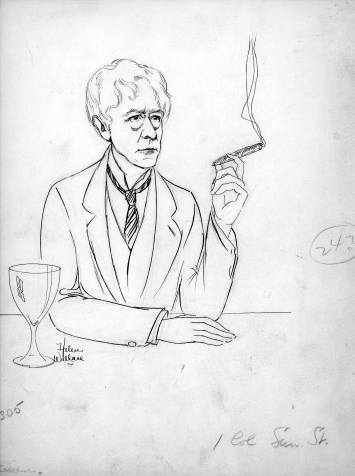 Sketch of Kenesaw Mountain Landis smoking a cigar by Helen Wallace, n.d. Source: Helen Wallace collection, MSS 056-012.
