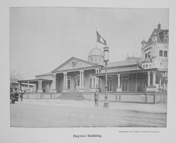 This is the Haitian pavillion—the only source of the black perspective in the fair. African Americans utilized it to stake their claim for inclusion. Amazingly, it was NOT located on the Midway, but rather in the White City portion of the fair, 1893. Source: Shepp's World's Fair Photographed, pp. 469.