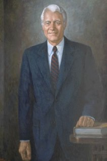 Oil on canvas portrait of former governor, Robert D. Orr, drawn by Lucian Lupinski, n.d. Source: in.gov/governorhistory/