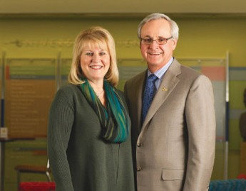 Photograph of Connie and Ronald Romain, the namesake of the Romain College of Business, at USI, n.d. Source: USI.edu