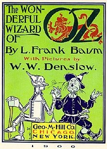 Book cover of the Wizard of Oz by L. Frank Baum, 1900. Source: https://en.wikipedia.org/wiki/The_Wonderful_Wizard_of_Oz
