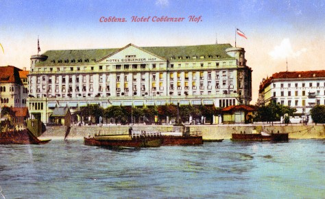 Postcard of Hotel Koblenzer Hof. in Koblenz, Germany, 1918. Source: Roy Kennedy collection, MSS 256-049.