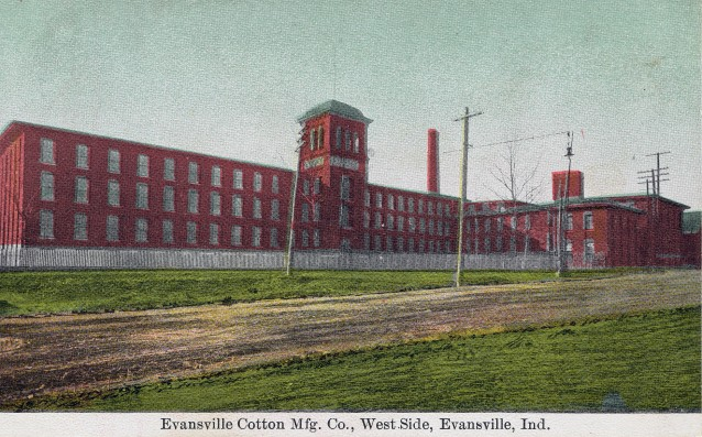 Postcard of the Evansville Cotton Manufacturing Company in Evansville, Indiana, n.d. Source: Evansville Postcards collection, RH 033-036.