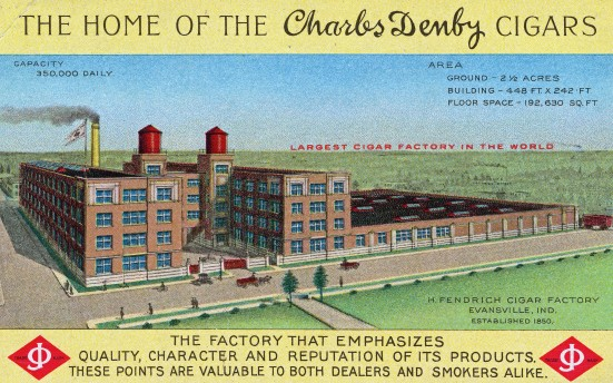 Postcard of the Charles Denby cigar factory in Evansville, Indiana, c. 1912. Source: Evansville Postcards collection, RH 033-055.